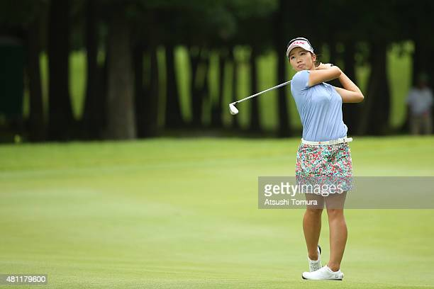 Rumi Yoshiba of Japan hits her second shot on the 15th hole during the second round of the Samantha Thavasa Girls Collection Ladies Tournament 2015...