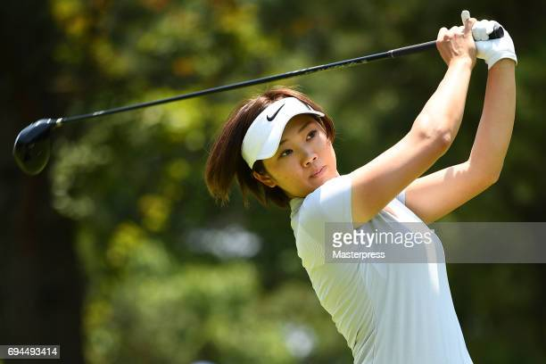 Rumi Yoshiba of Japan hits her tee shot during the third round of the Suntory Ladies Open at the Rokko Kokusai Golf Club on June 10 2017 in Kobe Japan