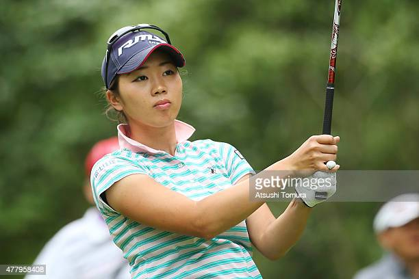 Rumi Yoshiba of Japan hits her tee shot on the 2nd hole during the third round of the Nichirei Ladies at the Sodegaura Country Club Shinsode Course...