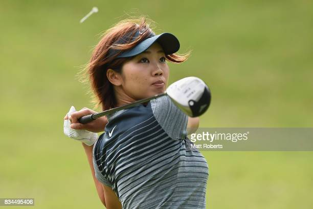 Rumi Yoshiba of Japan hits her tee shot on the 2nd hole during the first round of the CAT Ladies Golf Tournament HAKONE JAPAN 2017 at the Daihakone...