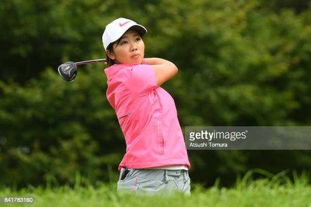 Rumi Yoshiba of Japan hits her tee shot on the 2nd hole during the second round of the Golf 5 Ladies Tournament 2017 at the Golf 5 Country Oak...