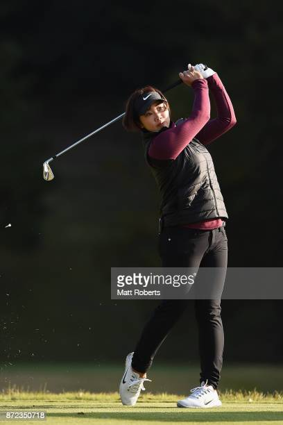 Rumi Yoshiba of Japan hits her tee shot on the 2nd hole during the first round of the Itoen Ladies Golf Tournament 2017 at the Great Island Club on...