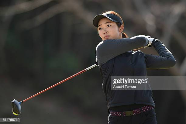Rumi Yoshiba of Japan hits her tee shot on the 3rd hole during the first round of the Yokohama Tyre PRGR Ladies Cup at the Tosa Country Club on March...