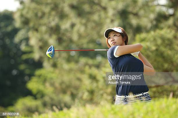Rumi Yoshiba of Japan hits her tee shot on the 3rd hole during the final round of the HokennoMadoguchi Ladies at the Fukuoka Country Club Ishino...