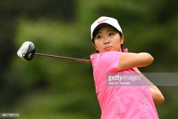 Rumi Yoshiba of Japan hits her tee shot on the 3rd hole during the second round of the Golf 5 Ladies Tournament 2017 at the Golf 5 Country Oak...