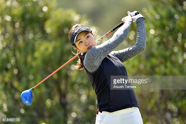 Rumi Yoshiba of Japan hits her tee shot on the 4th hole during the first round of the Daikin Orchid Ladies Golf Tournament at the Ryukyu Golf Club on...