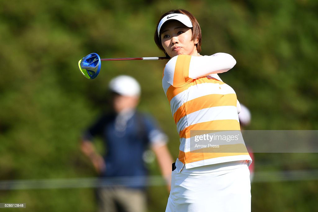 Rumi Yoshiba of Japan hits her tee shot on the 4th hole during the first round of the World Ladies Championship Salonpas Cup at the Ibaraki Golf Club on May 5, 2016 in Tsukubamirai, Japan.