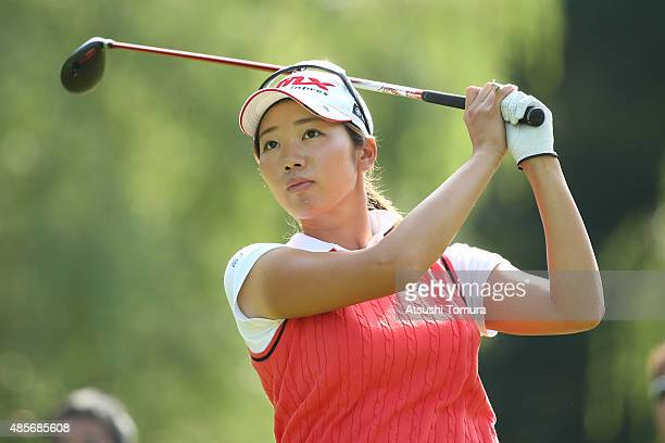 Rumi Yoshiba of Japan hits her tee shot on the 8th hole during the second round of the Nitori Ladies 2015 at the Otaru Country Club on August 29 2015...