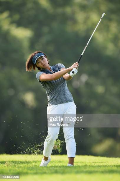 Rumi Yoshiba of Japan plays her approach shot on the 11th hole during the second round of the 50th LPGA Championship Konica Minolta Cup 2017 at the...
