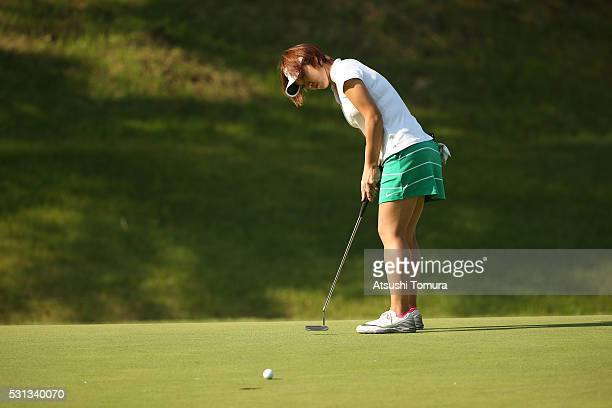 Rumi Yoshiba of Japan putts on the 2nd hole during the second round of the HokennoMadoguchi Ladies at the Fukuoka Country Club Ishino Course on May...