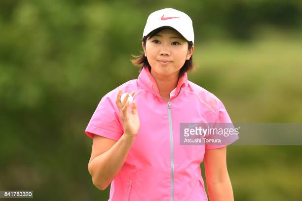 Rumi Yoshiba of Japan reacts during the second round of the Golf 5 Ladies Tournament 2017 at the Golf 5 Country Oak Village on September 2 2017 in...