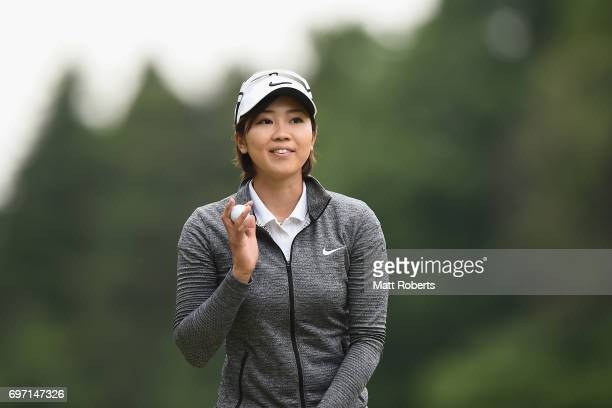 Rumi Yoshiba of Japan smiles after her putt on the 5th green during the final round of the Nichirei Ladies at the on June 18 2017 in Chiba Japan