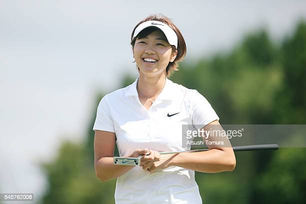 Rumi Yoshiba of Japan smiles after winning the Nipponham Ladies Classics at the Ambix Hakodate Club on July 10 2016 in Hokuto Japan