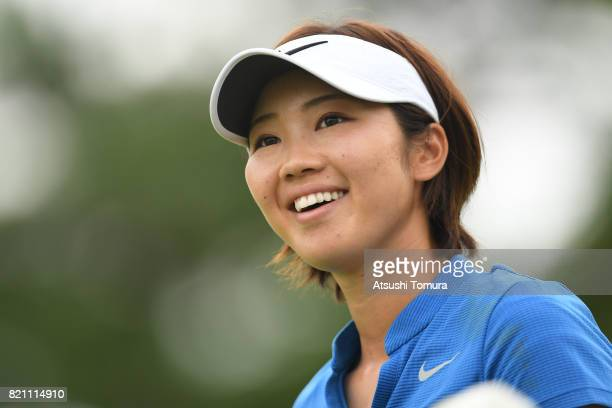 Rumi Yoshiba of Japan smiles during the final round of the Century 21 Ladies Golf Tournament 2017 at the Seta Golf Course on July 23 2017 in Otsu...