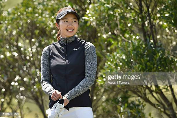 Rumi Yoshiba of Japan smiles during the first round of the Daikin Orchid Ladies Golf Tournament at the Ryukyu Golf Club on March 3 2016 in Nanjo Japan