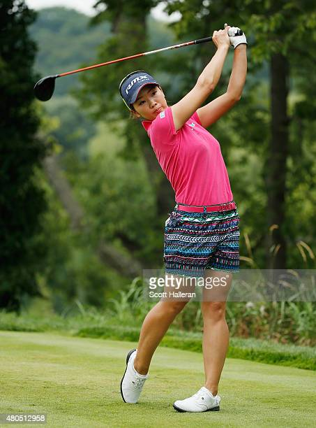 Rumi Yoshiba of Japan watches her tee shot on the second hole during the final round of the US Women's Open at Lancaster Country Club on July 12 2015...
