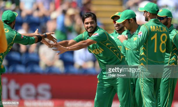 Rumman Raees of Pakistan celebrates after dismissing Alex Hales of England during the ICC Champions Trophy match between England and Pakistan at...