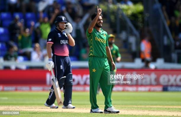 Rumman Raees of Pakistan celebrates dismissing Alex Hales of England during the ICC Champions Trophy Semi Final between England and Pakistan at...