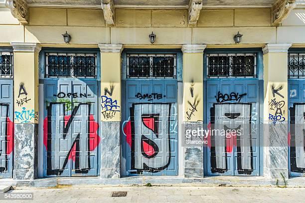 Run-Bereich von Athen, Griechenland mit graffiti