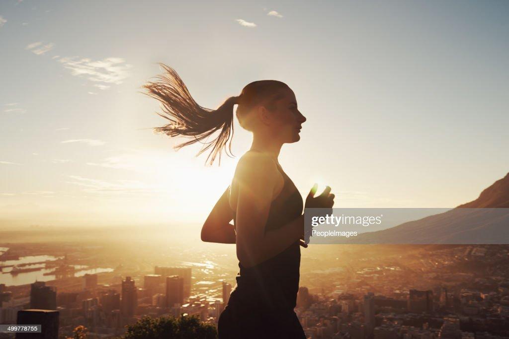 Run with the sun : Stock Photo