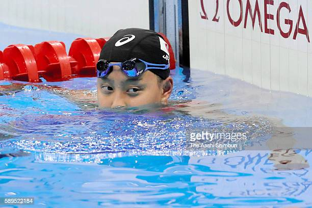 Runa Imai of Japan reacts after competing in the Women's 200m Individual Medley Semi Final 2on Day 3 of the Rio 2016 Olympic Games at the Olympic...