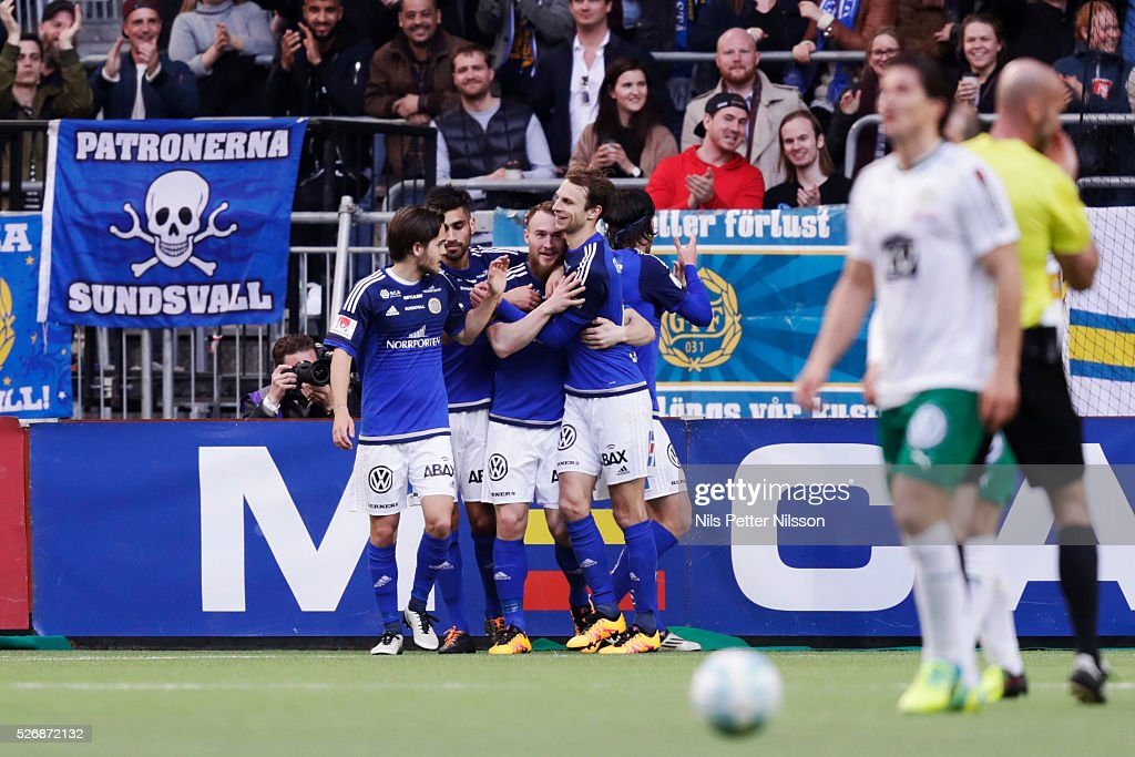 Runar Mar Sigurjonsson of GIF Sundsvall celebrates after scoring 1-1 during the Allsvenskan match between Hammarby IF and GIF Sundsvall at Tele2 Arena on May 1, 2016 in Stockholm, Sweden.