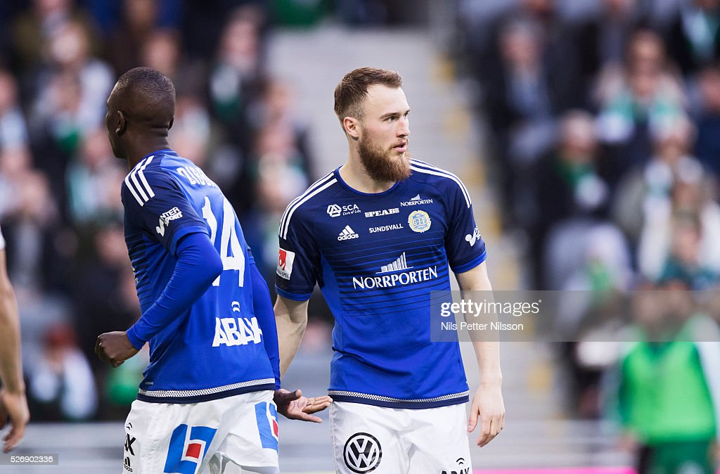 Runar Mar Sigurjonsson of GIF Sundsvall during the Allsvenskan match between Hammarby IF and GIF Sundsvall at Tele2 Arena on May 1, 2016 in Stockholm, Sweden.