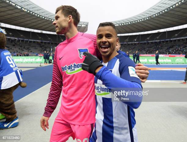 Rune Almenning Jarstein and Allan of Hertha BSC celebrate their team's win after the game between Hertha BSC and dem VfL Wolfsburg on april 22 2017...