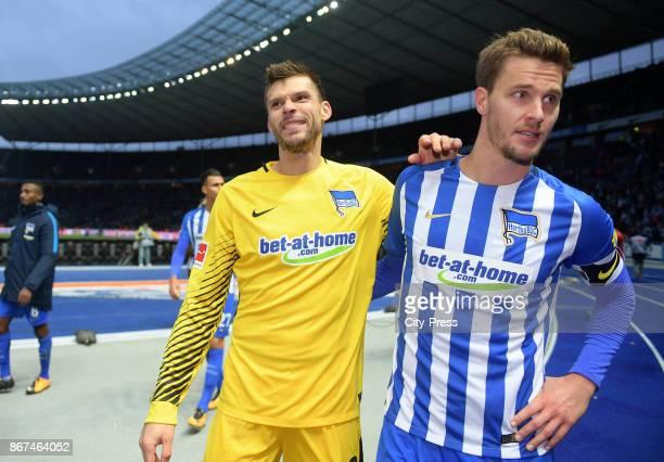 Rune Almenning Jarstein and Sebastian Langkamp of Hertha BSC after the game between Hertha BSC and Hamburger SV on October 28 2017 in Berlin Germany