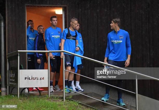 Rune Almenning Jarstein kit manager Robert Abramczyk Jonathan Klinsmann Palko Dardai Maurice Covic and Dennis Smarsch of Hertha BSC during the...
