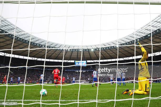 Rune Almenning Jarstein of Hertha Berlin reacts after Mats Hummels of Bayern Munich scores a goal during the Bundesliga match between Hertha BSC and...