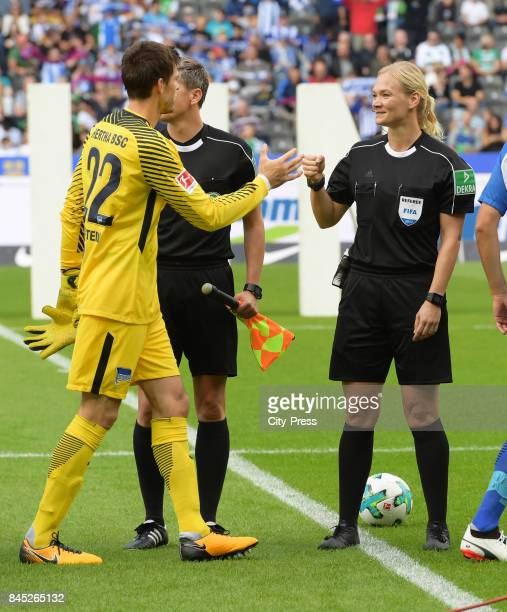 Rune Almenning Jarstein of Hertha BSC and referee Bibiana Steinhaus before the game between Hertha BSC and Werder Bremen on september 10 2017 in...