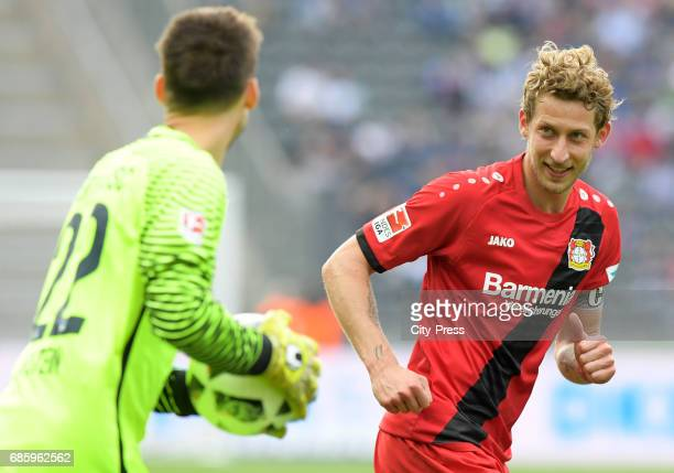 Rune Almenning Jarstein of Hertha BSC and Stefan Kiessling of Bayer 04 Leverkusen during the game between Hertha BSC and Bayer 04 Leverkusen on may...