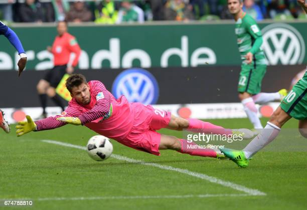 Rune Almenning Jarstein of Hertha BSC during the Bundesliga match between Werder Bremen and Hertha BSC on April 29 2017 in Bremen Germany