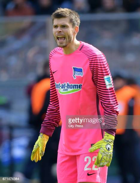 Rune Almenning Jarstein of Hertha BSC during the game between Hertha BSC and dem VfL Wolfsburg on april 22 2017 in Berlin Germany
