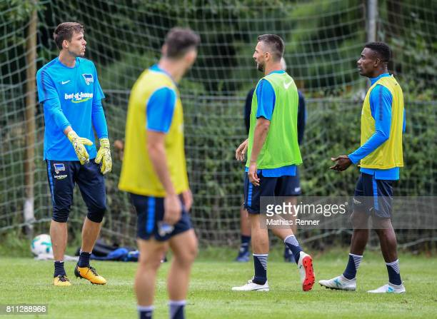 Rune Almenning Jarstein Vedad Ibisevic and Salomon Kalou during the second day of the training camp of Hertha BSC on July 9 2017 in Bad Saarow Germany