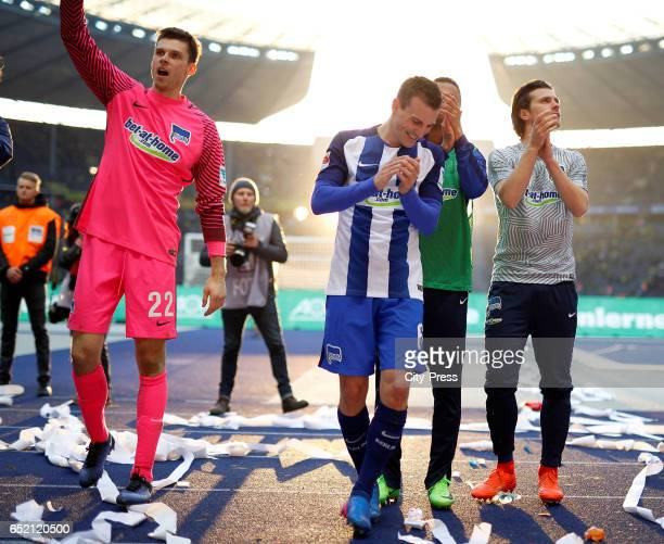 Rune Almenning Jarstein Vladimir Darida and Valentin Stocker of Hertha BSC celebrate the 21 win after the Bundesliga match between Hertha BSC and...