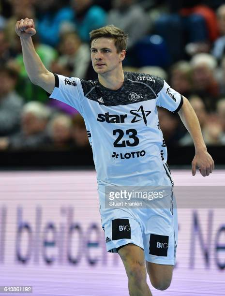 Rune Dahmke of Kiel celebrates during the DKB Handball Bundesliga game between THW Kiel and MT Melsungen at Sparkassen Arena on February 22 2017 in...