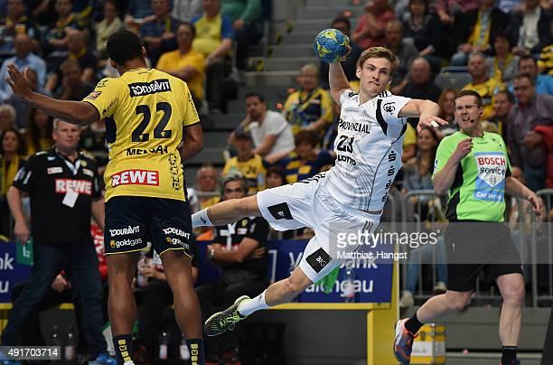 Rune Dahmke of Kiel scores during the DKB HBL Bundesliga match between Rhein Neckar Loewen and THW Kiel at SAP Arena on October 7 2015 in Mannheim...