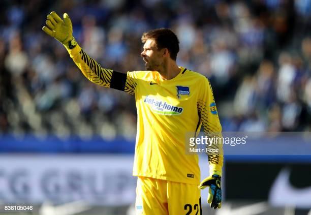 Rune Jarstein goalkeeper of Berlin gestures during the Bundesliga match between Hertha BSC and VfB Stuttgart at Olympiastadion on August 19 2017 in...