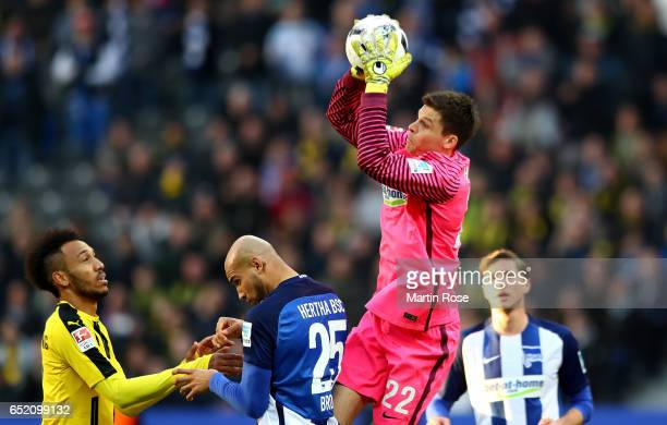 Rune Jarstein of Berlin catches the ball during the Bundesliga match between Hertha BSC and Borussia Dortmund at Olympiastadion on March 11 2017 in...
