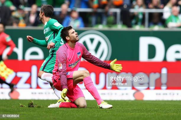 Rune Jarstein of Berlin looks frustrated during the Bundesliga match between Werder Bremen and Hertha BSC at Weserstadion on April 29 2017 in Bremen...