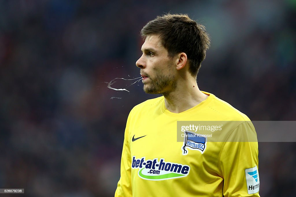 Rune Jarstein of Berlin spitts during the Bundesliga match between Bayer Leverkusen and Hertha BSC Berlin at BayArena on April 30, 2016 in Leverkusen, Germany.
