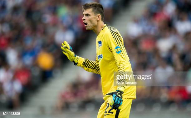 Rune Jarstein of Hertha BSC reacts during the Preseason Friendly match between Hertha BSC and FC Liverpool at Olympiastadion on July 29 2017 in...