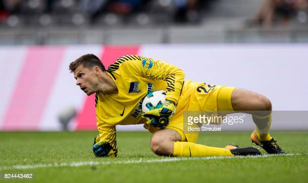 Rune Jarstein of Hertha BSC saves a ball during the Preseason Friendly match between Hertha BSC and FC Liverpool at Olympiastadion on July 29 2017 in...