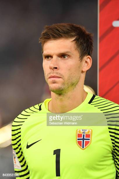 Rune Jarstein of Norway looks on during the FIFA 2018 World Cup Qualifier between Germany and Norway at MercedesBenz Arena on September 4 2017 in...