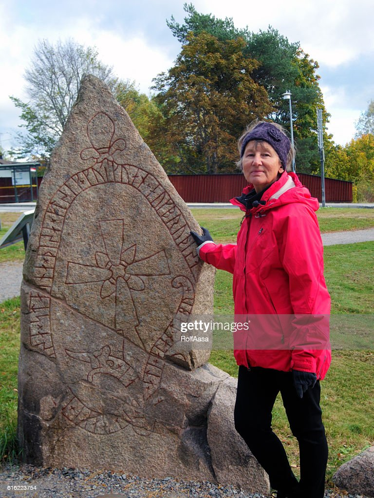 Rune stone in Sweden : Stock Photo