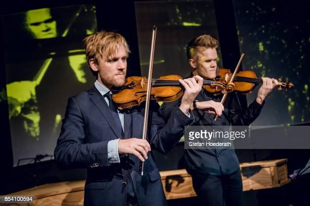 Rune Tonsgard Sorensen and Frederik Oland of Danish String Quartett perform live on stage during Yellow Lounge x Reeperbahn Festival organized by...