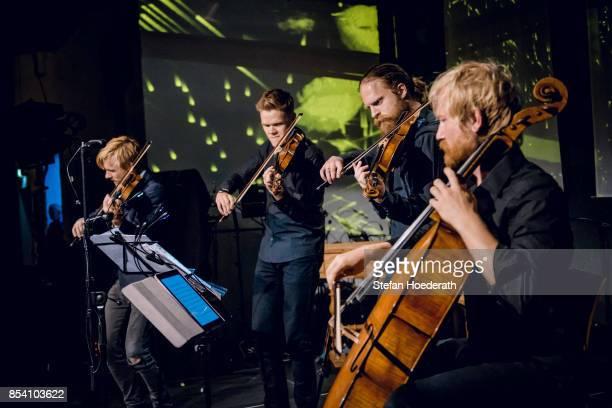 Rune Tonsgard Sorensen Frederik Oland Asbjorn Noorgard and Frederik Sjoelin of Danish String Quartett perform live on stage during Yellow Lounge x...