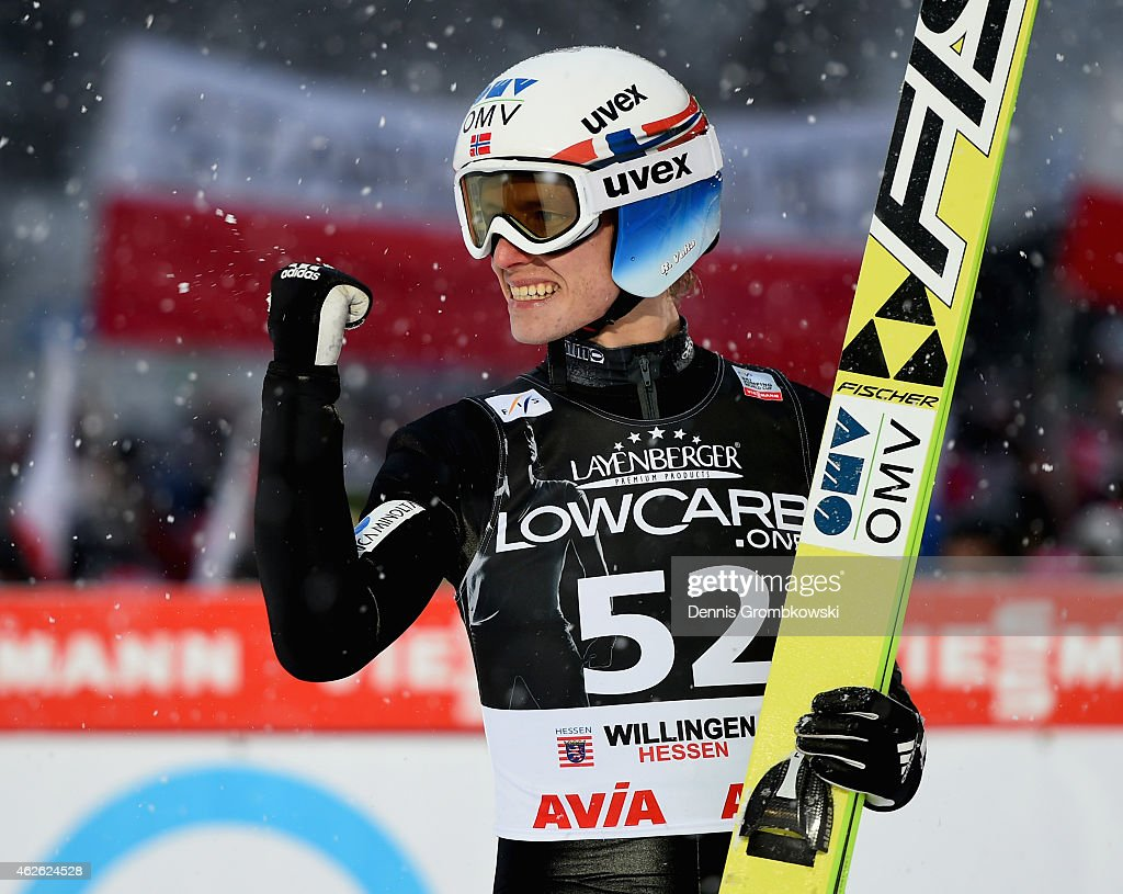 <a gi-track='captionPersonalityLinkClicked' href=/galleries/search?phrase=Rune+Velta&family=editorial&specificpeople=6845746 ng-click='$event.stopPropagation()'>Rune Velta</a> of Norway celebrates after finishing second in the FIS Ski Jumping World Cup on February 1, 2015 in Willingen, Germany.